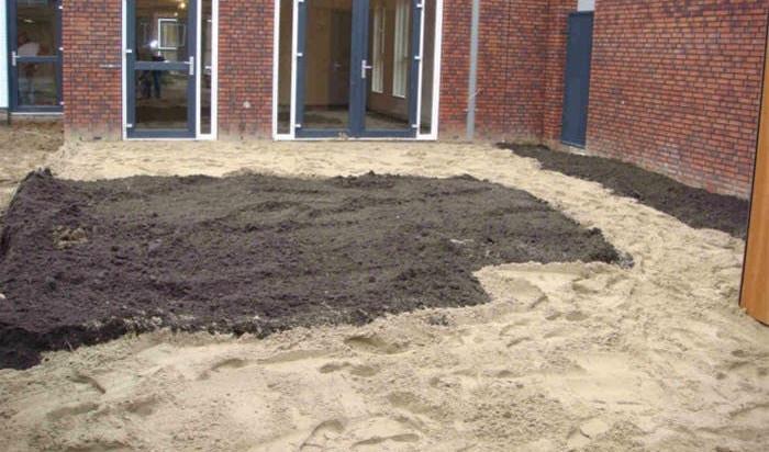 Afgraven en aanvullen schoon zand